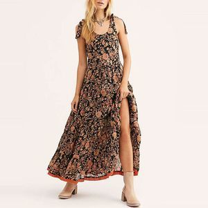 New Free People Kika's Printed Midi Dress  BLACK